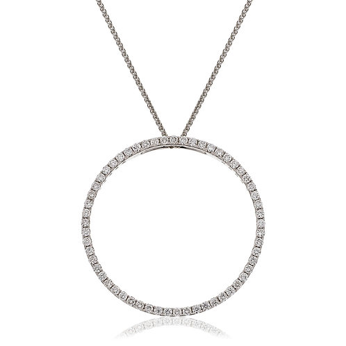 Diamond Halo Love Pendant 0.50cts, 9ct White Gold.