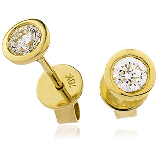 Diamond Solitaire Rubover Set Earrings 0.30, 18ct Yellow Gold.