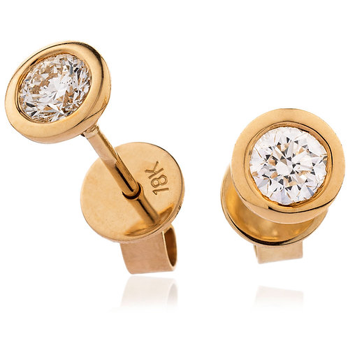 Diamond Solitaire Rubover Set Earrings 0.30, 18ct Rose Gold.
