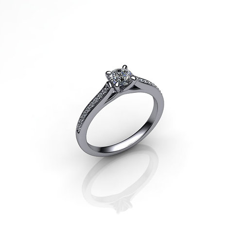 Diamond Solitaire Engagement Ring 0.25cts, 18ct White Gold.