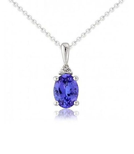 Ladies Tanzanite and Diamond 9ct White gold Fancy Pendant, 6T00WD.