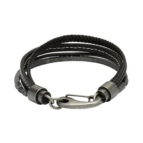 Unique & Co Mens Bracelet Steel and Black Leather, B406BL.