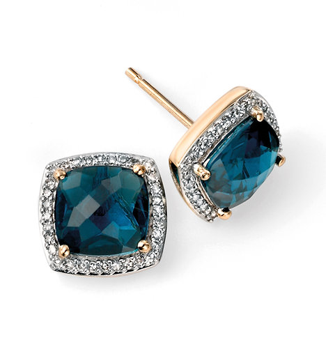 Ladies London Blue Topaz and Diamond Earrings 9ct Gold, GE985T