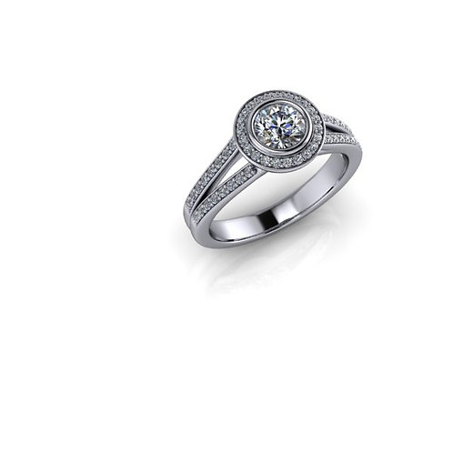 Diamond Halo Engagement Ring 0.67cts. total, 18ct White Gold.