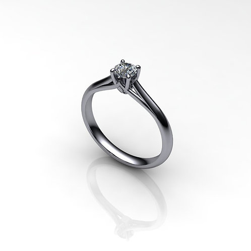 Diamond Solitaire Engagement Ring 0.26cts, 18ct White Gold