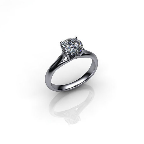 Diamond Solitaire Engagement Ring 1.03cts, 18ct White Gold