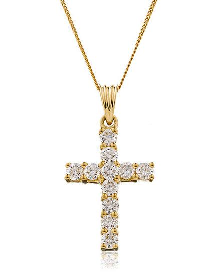 Diamond Cross Pendant 0.50, 18ct Yellow Gold.