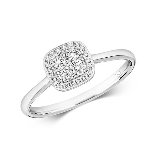Diamond Vintage Style Cluster Ring 0.26cts, 18ct White Gold