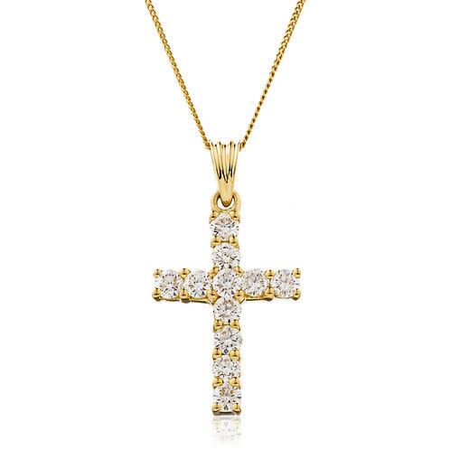 Diamond Cross Pendant 0.25, 18ct Yellow Gold.