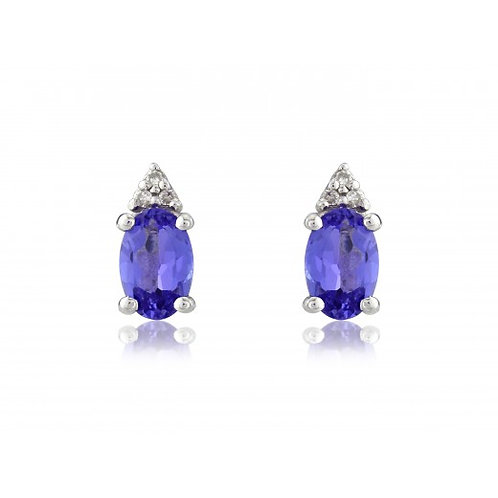 Ladies Tanzanite and Diamond 9ct White Gold Drop Earrings, 8G33WDTZ.