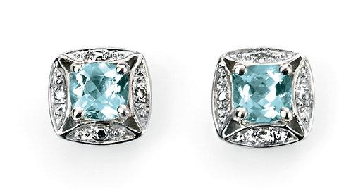 Ladies Aquamarine & Diamond Earrings, GE732T.