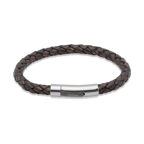Unique & Co Mens Leather Bracelet, B170ADB.