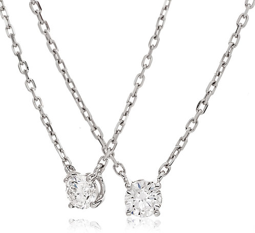 Diamond Solitaire Fixed Chain Pendant, 18 White Gold 0.25cts
