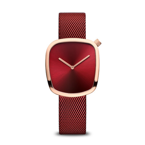 Bering Rose Gold & Red Pebble Watch Ref. 18034-363