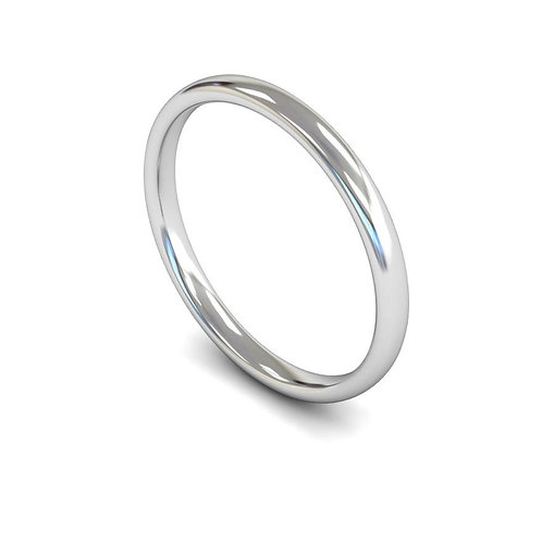 18ct Gold Slight Court  2mm Wedding Bands, WBL 2mm.