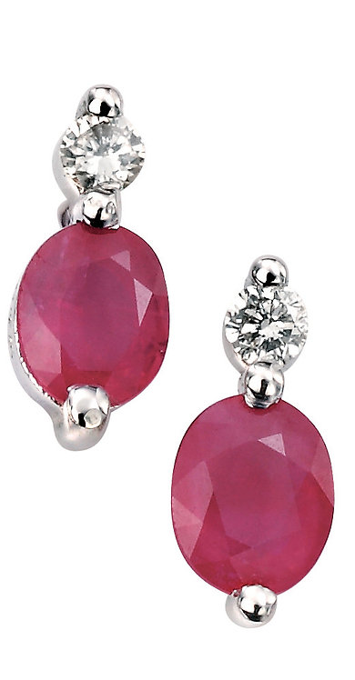 Ladies Ruby & Diamond Earrings, GE752R.