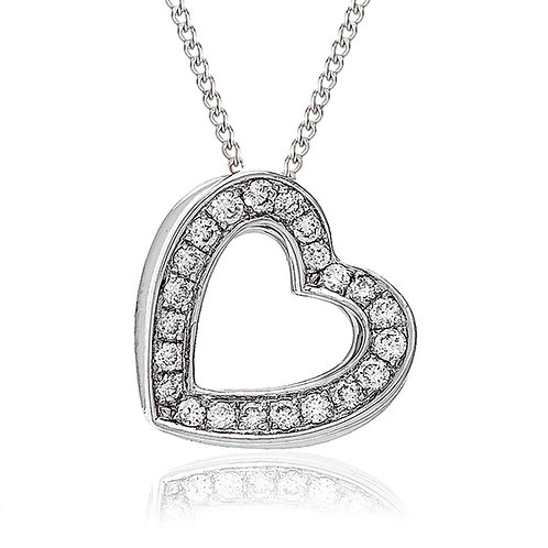Diamond 3D Heart Pendant 0.20, 18ct White Gold.