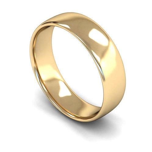 9ct Gold Slight Court Wedding Bands, WBL 6mm.