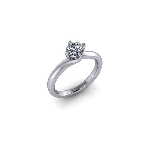 Diamond Solitaire Twist Engagement Ring 0.40cts, 18ct White Gold.