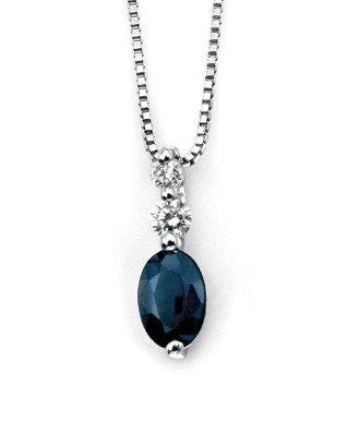 Sapphire & Diamond Pendant 9ct White Gold, GP735L.