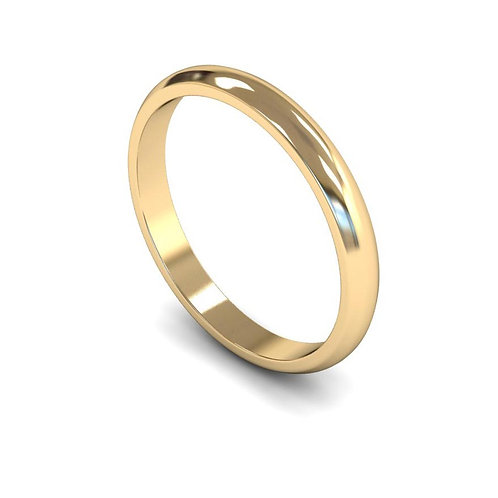 9ct Gold D-Shape 2mm Wedding Bands, WDL2.