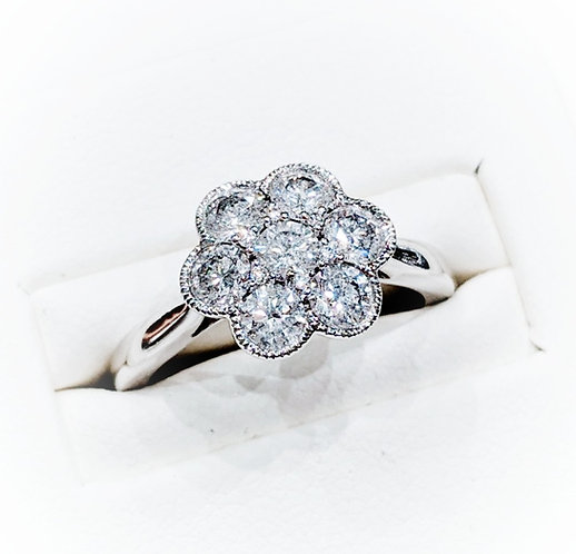 Diamond Vintage Style Cluster Ring, 1.10cts