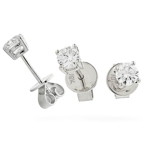 Diamond Solitaire Earrings 0.30, 18ct White Gold.