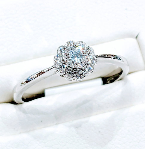 Diamond Vintage Style Cluster Ring 0.30cts, 18ct White Gold