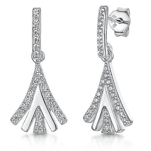 Jools Sterling Silver CZ drop earrings kpe2677