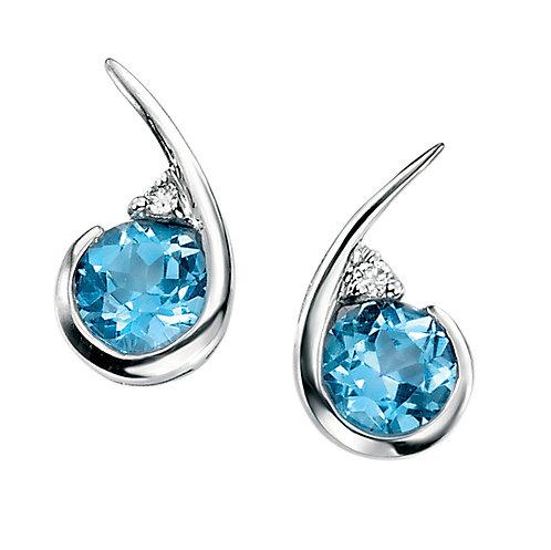 Ladies Topaz and Diamond 9ct White Gold Stud Earrings GE706T