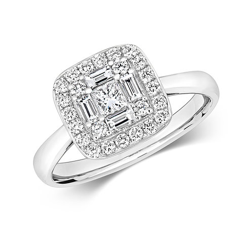 Diamond Vintage Style Cluster Ring 0.70cts, 18ct White Gold