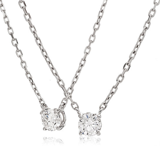 Diamond Solitaire Fixed Chain Pendant, 18 White Gold 0.15cts