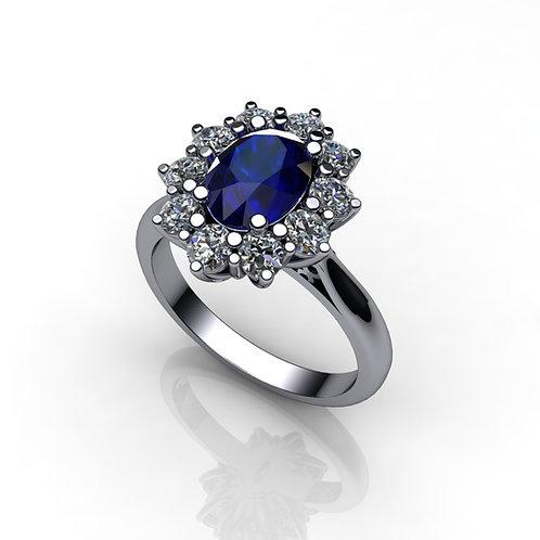 Diamond/Sapphire Cluster Ring ,18ct White Gold.
