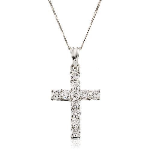 Diamond Cross Pendant 0.50, 18ct White Gold.