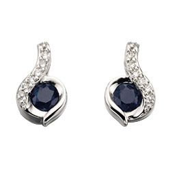 Sapphire and Diamond Stud Earrings 9ct White Gold, GE893L.