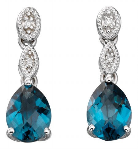 Ladies London Blue Topaz and Diamond 9ct White Gold Earrings, GE884T.