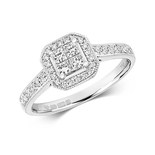 Diamond Vintage Style Cluster Ring 0.54cts, 18ct White Gold