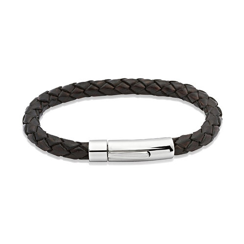 Mens Bracelet Stainless Steel and Brown Leather, A40ADB.