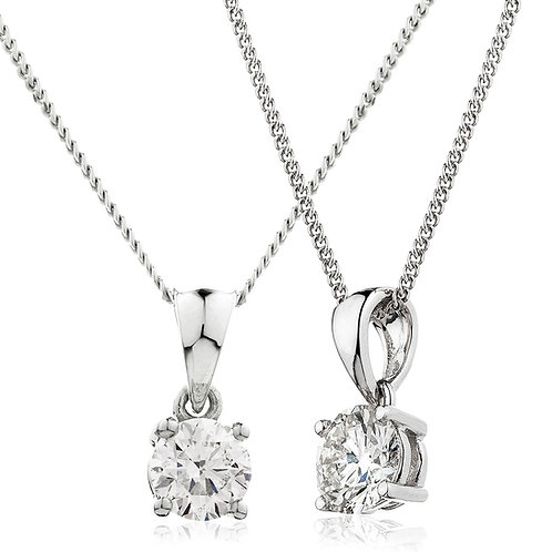 Diamond Solitaire Pendant, 18 White Gold 0.10cts.