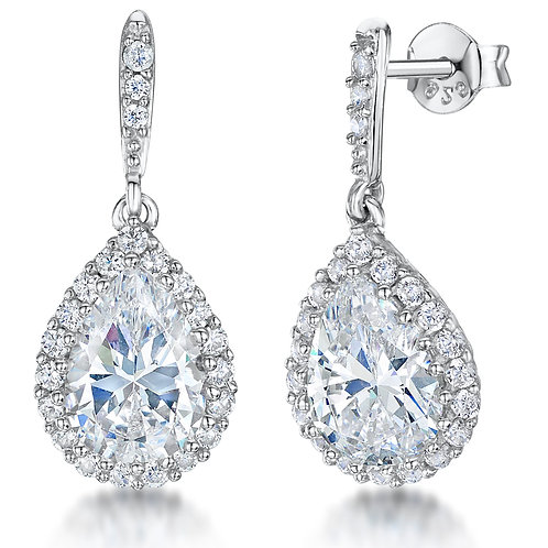 Jools Sterling Silver CZ Drop Earrings kpe0179