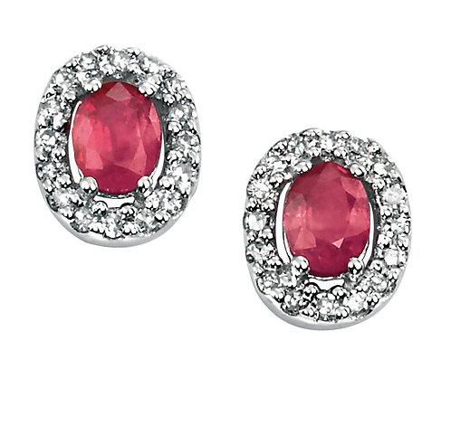 Ladies Ruby & Diamond Halo Earrings, GE703R.
