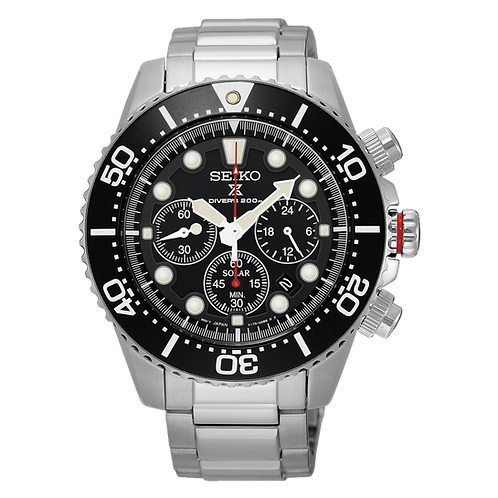 Seiko Mens Divers Solar Chronograph Watch, SSC015P1 .