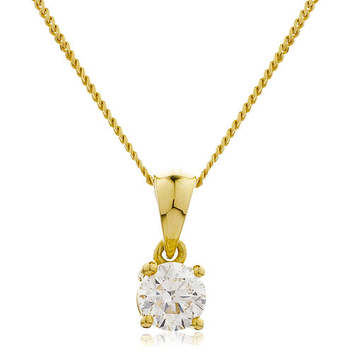 Diamond Solitaire Pendant, 18 Yellow Gold 0.75cts.
