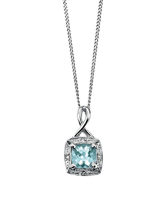 Aquamarine & Diamond Pendant 9ct White Gold, GP709T.
