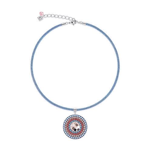 Coeur De Lion Necklace Amulet Swarovski® Crystals & mesh aqua-red, 4954102003.