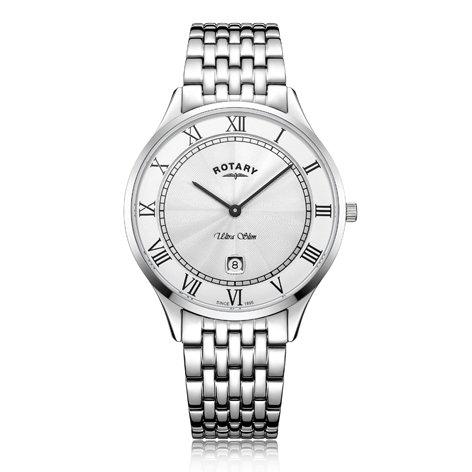 Rotary Ultra Slim White Stainless Steel Watch, GB08300/01.