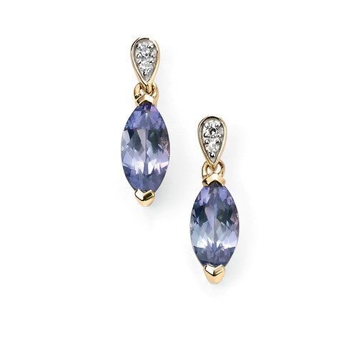 Ladies Tanzanite and Diamond 9ct Gold Drop Earrings, GE2037.