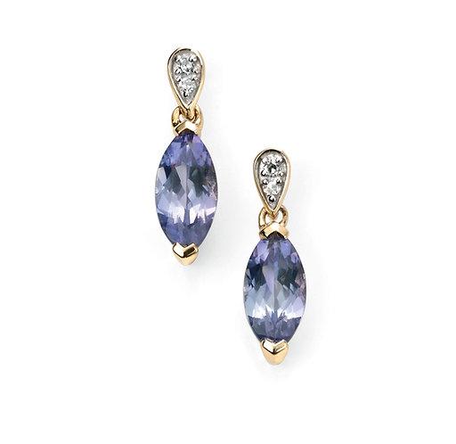 Ladies Tanzanite and Diamond 9ct Gold Drop Earrings, GE2037.