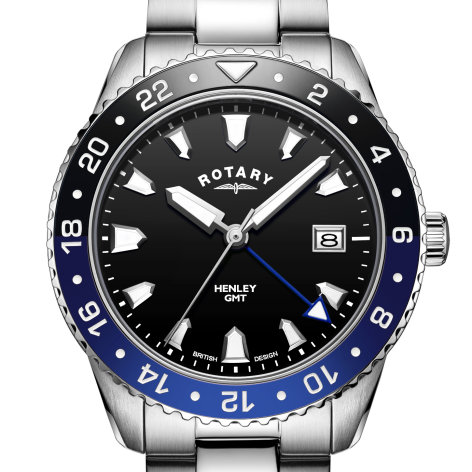 Mens Rotary Black GMT Henley Watch, GB05108/63.