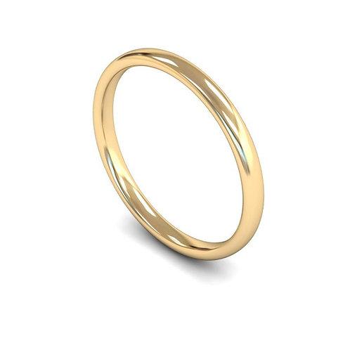 9ct Gold Slight Court Wedding Bands, WBL 2mm.